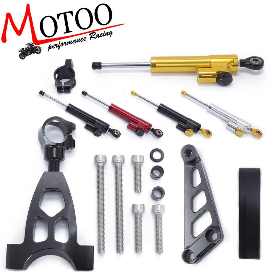 Motoo - Motorcycle CNC Damper Steering StabilizerLinear Reversed Safety Control+Bracket For Honda CB400 VTEC 1999-2010<br>