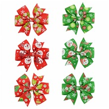 1 piece Boutique Kids Christmas Hair Bow With Clip Christmas Printed Ribbon Hair Bows For Kids Christmas Gift 642(China)
