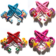 50 pair/lot Lalaloopsy Cute Cartoon Hairpin PVC Hair Clip Hairwear for Party Hair Band Accessories Hairgrip Hair Ornaments Gift(China)
