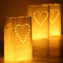 2016 New Arrival!Heart light Holder Luminaria Paper Lantern Candle Bag For Party Home Outdoor Wedding Decoration 10pcs/lot