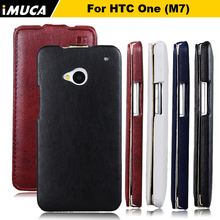 iMUCA For HTC M7 case cover Flip htc one m7 801 801e 801s 801n case cover PU Leather Case HTC One M7 Flip Phone black Bags Case(China)