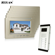 "JERUAN Wholesale New Home Apartment Intercom System 6 Monitors Wired 7"" Color HD Video Door Phone intercom System FREE SHIPPING"