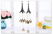 1PC Paris Eifel Tower Metal Aluminum Tubes Campanula Wind Bell Chimes Home Ornaments Bell Home Decoration Student Gift KU 008(China)