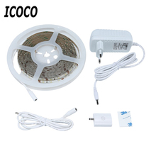 ICOCO High Quality 5M 300 LEDs Waterproof Hand Wave Sensor LED Strip Lamp Dimmable Cabinet LED Lighting 2A 12V Free Shipping
