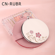 CN-RUBR 8.5*6.2cm Silver Mirror Creative Round Pattern Portable Foldable Makeup Mirror Leather Cosmetic for Girl Beauty Mirror
