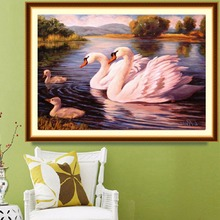 DIY Diamond Painting Swan and Ducks 5D Round Drill Diamond Painting Cross Stitch Room Decor Diy Diamond Embroidery Picture(China)