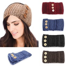 Hand Knit Woman's Button Headband Flapper Style Head Band Ear Warmers Knit Ear Warmer Embellished Headband Chose Color(China)