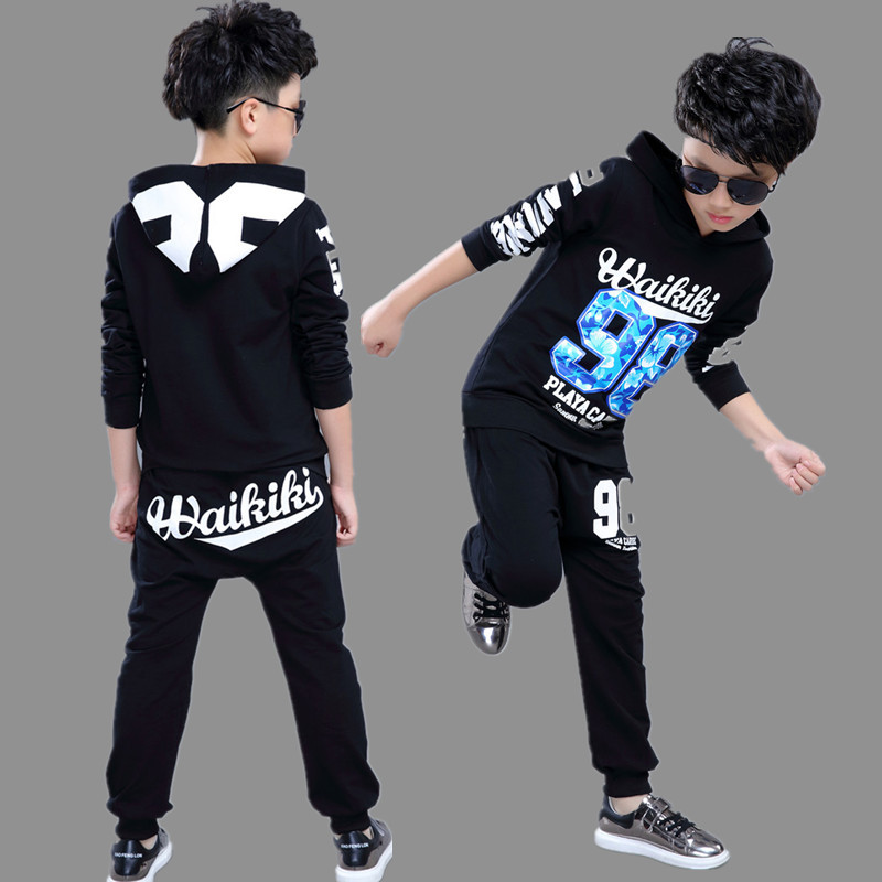 2016 Kids Adults spring Autumn childrens clothing set Costumes Hip Hop dance Pants &amp;  Black 98 T-shirt kids suits twinset<br>