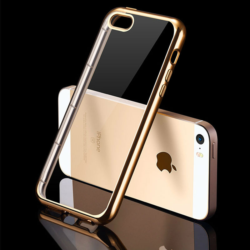 Luxury Plating Soft TPU Celular For Apple iPhone 5 SE 6 6PLus 7 7Plus Slim Transparent Clear Silicone TPU Case On 5S 6S 6S Plus(China (Mainland))