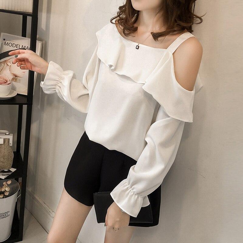 M-4xl White Elegant Chiffon Blouse Women Long Sleeve Ruffles Blusas Shoulder Open Office Shirt Tops Plus Size Hot Sale 2018 New 5 Online shopping Bangladesh
