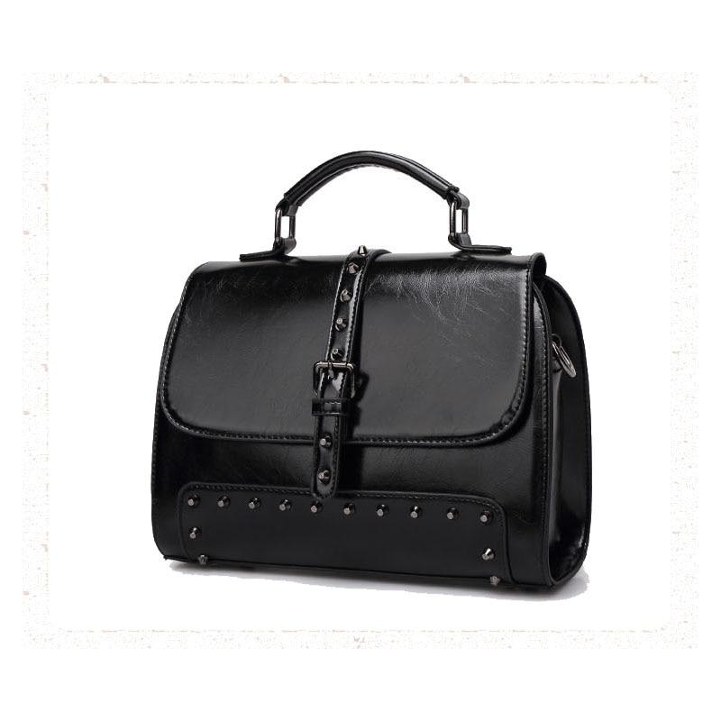 Leather Messenger Bags Women PU Crossbody Bags Rivet Vintage Motorcycle Satchel Commute Fashion Shoulder Bags<br>
