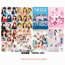 Free shipping 8 pcs/set different designs A3 Posters KPOP Twice girl group Paintings Wall Pictures Wall Sticker(China)
