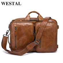 WESTAL Genuine leather men messenger bags business Leather laptop bag men bag men's briefcase Tote travel shoulder laptop bag