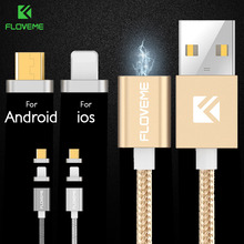 FLOVEME iOS Android Magnetic Charger Cable for iPhone 5 SE 6 6s 7 Plus 1M Data Magnet Charging Cable For iPad Samsung HUAWEI