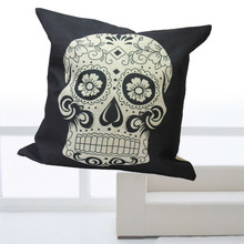 New Cushion Bed Car Square White Skull Throw Pillow Case Cover Home Decor