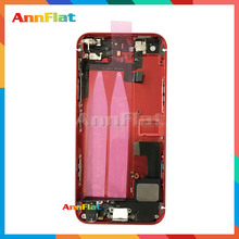 Free to print imei For IPhone 5 5G 5S Full Housing Back Cover Battery Assembly Chassis+Sim Card Tray+Buttons+Flex Cables Red