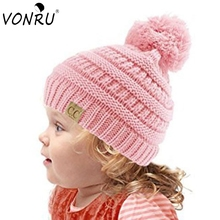 Candy Colors Kids Autumn Winter Knitted Hat with Pom Pom Casual CC Label Skullies Beanies Girls Warm Caps for Children(China)