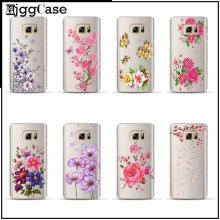 Luxury Floral Painted Clear Transparent Cover For Samsung Galaxy A3 A5 A7 2017 J1 J5 J7 2016 note 3 4 5 Flower Phone Case Cover(China)