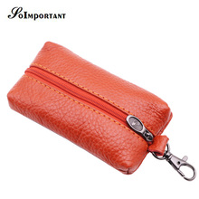 Genuine Leather Key Wallets Female Key Holder Housekeeper Keys Organizer Women Keychain Covers Zipper Car Key Case Bag Pouch