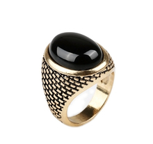 Men Women Ring Antique Big Vintage Rings For Women Oval Red Black Stone Jewelry Carved Onyx Ring #20037