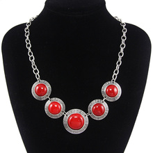 Vintage Green Necklace Red Green Malachite Stone Choker Necklace for Women Silver Plated Tibet Jewelry Exotic Jewelry nkem26