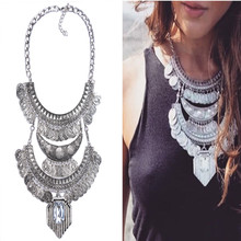 Fashion Necklace Pendant Women 2016Choker Jewelry Collare Crystal Collier Femme Punk Costume Big Vintage Chunky Coin Bohemian