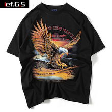 ief.G.S 2017 The New Summer Men's Eagle Pattern Rock T-shirt Europe and The United States Trend Short Sleeved T-shirt(China)