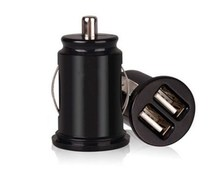 Car Charger Adaptor Bullet Dual Mini USB 2-Port for Apple iPhone 4 S 5 Samsung