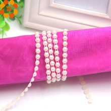 10Yards 6mm 2Colors Chain Pearls Garland Pearl Beads Cotton Double Line Wedding Decorations Suppliers Bride Bouquet Accessories(China)