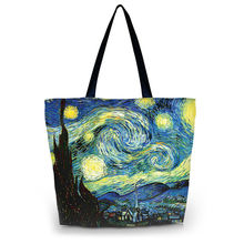 Starry Night Women Reusable Shopping Bag Large Capacity Female Handbags Daily Use Girls Travel Shool Bag Grocery Packing Tote