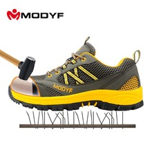 Modyf men steel toe cap work safety shoes casual mesh breathable outdoor boots puncture proof protection footwear(China)