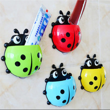 New Novelty Creative Lovely Strong Sucker Vacuum Wall Suction Cups Ladybug Cartoon SuckerToothbrush Holder