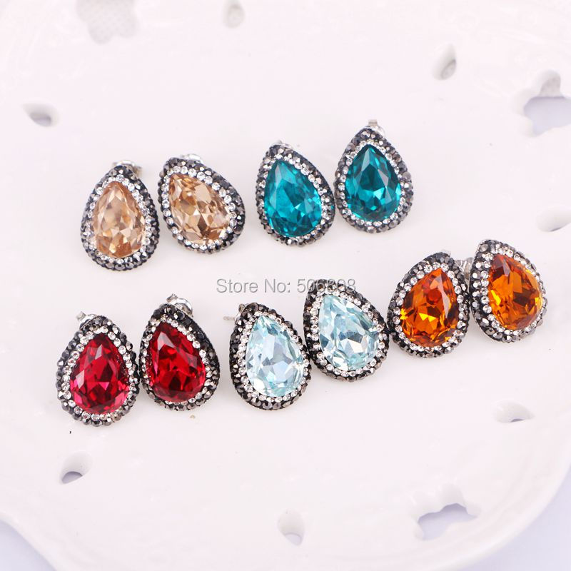 ZYZ-E0975 10Pairs Drop Crystal Zircon Stud earrings charm pave rhinestone stone earrings faceted studs