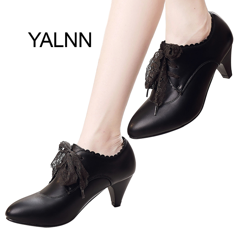 YALNN New Women Black Leather High Heel Shoes for Women Winter Office Lady Mature High Heels Shoes Fur Pumps for Girls<br>