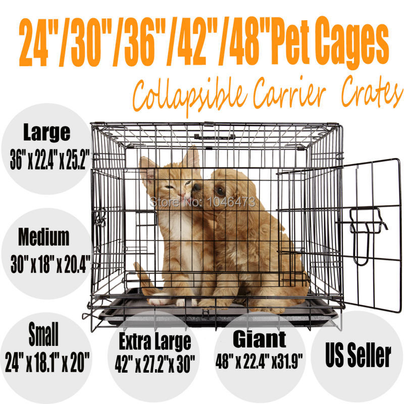 Ship from EU! 36 inch Pet Dog Cage Collapsible Metal Crate Kennel Portable Puppy Cat 24 30 364248<br>