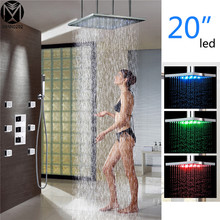 LED Rainfall Chrome Finished Shower Set Wall Mount Shower Faucet 20 Inch super thin Shower head With 6 Sprayer Shower set(China)
