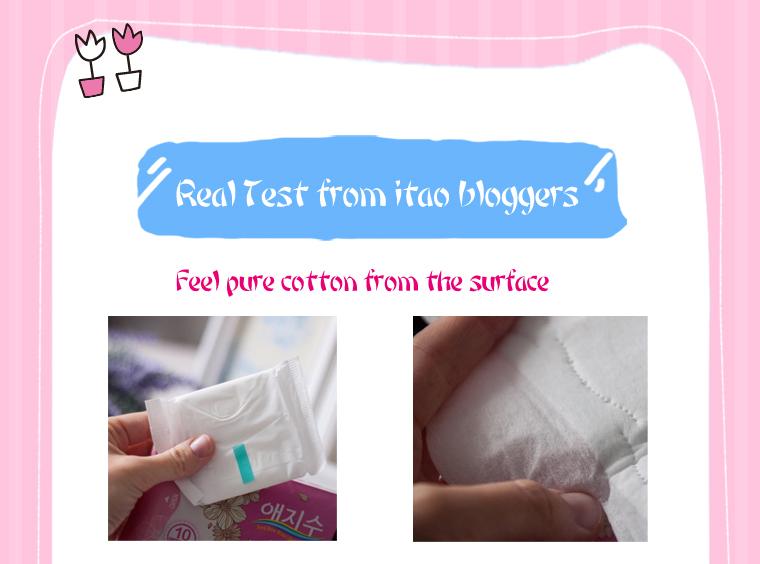 Korea 6pcs AEJISU organic cotton heavy flow over Night Sanitary Napkins pad 3mm feminine hygiene products menstrual towel pads 19
