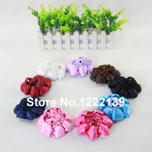 60pcs/lot Girl Women Bun Cover Snood Hair Net Ballet Dance Skating Crochet Beautiful Ribbon Brim Decor