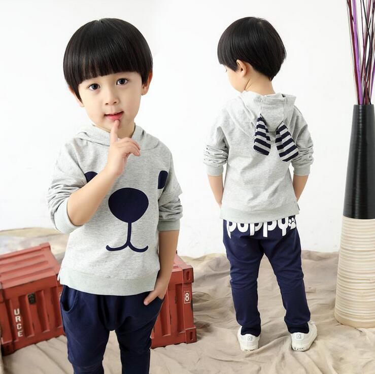 New Lovely Toddler Boys Clothing Full Sleeve Hooded T-shirt And Pants Ropa De Nina Children Sets Kids Autumn Outfits Clothes<br><br>Aliexpress