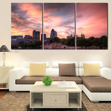 2016 Fallout New No Oil Hot Painted Canvas Beautiful Sunset Paintings 3pcs Modern Tree Artwork Wall Picture Sets Unframed Sale