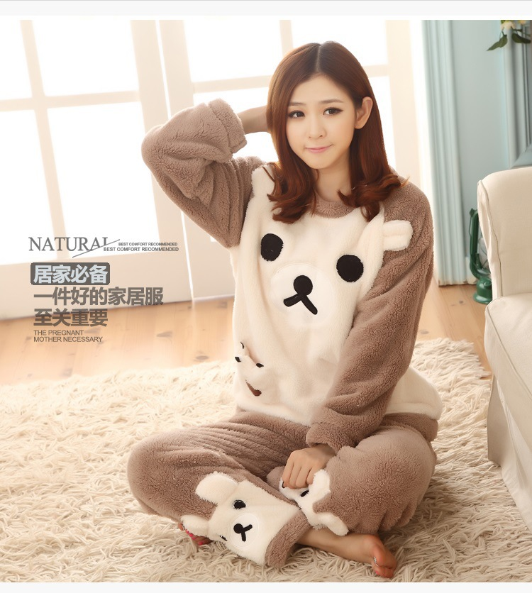 f05fe177dc Autumn and winter pajamas women long-sleeved flannel thick cute home service  coral velvet XL large loose student suits