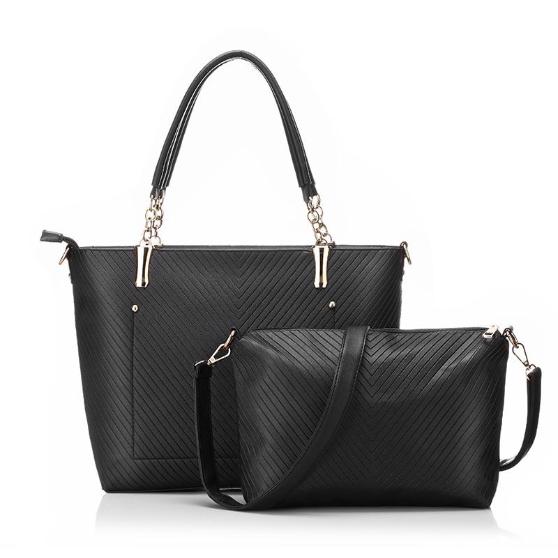 2017 New Women Large Bucket Bag Fashion Ladies Handbags PU Leather Shoulder Bag Luxury Famous Brand Handbag Tote Bag 2 Sets<br><br>Aliexpress