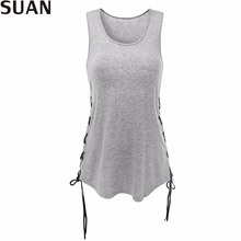 SUAN 2017 Fashion New Summer Women T-Shirts Tumblr Blusa Clothes O-Sleeveless Tops & Tees AAAAA Cotton Solid Stretchable Elastic(China)