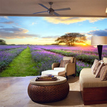 photo wallpaper quality flash silver cloth / living room TV sofa idyllic natural landscape lavender large mural wallpaper