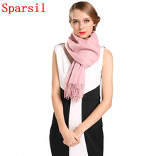 11.11 Sparsil Women Winter Cashmere Blend Knitted Christmas Scarves Autumn Warm Tassel Design Blanket Scarf