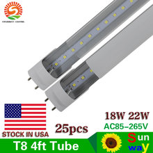 4 ft Led Tube Lights T8 18W 22W 1200mm 4ft Led Tube Light 22W 18W LED Fluorescent Lamp G13 120cm 4 foot Tube T8 Led Tubes 25pcs(China)