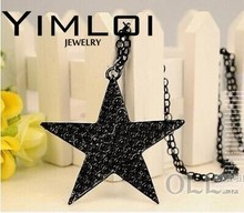 $10 (mix order) Free Shipping Black Star Pentagram Necklace Long Sweater Chain N040