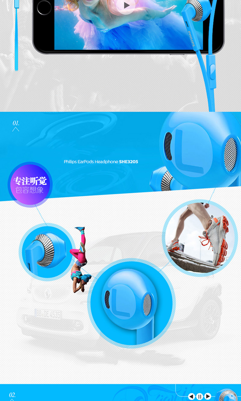 Philips SHE3205 Wired Headset with Microphone 3.5mm Plug Support Computer Ipad MP4 Smartphone for Galaxy 8 Xiaomi Official Test
