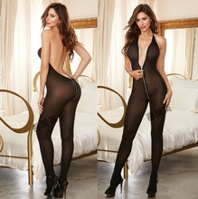 Buy zipper Sexy Lingerie Women Erotic Lingerie Hot Sex Products Sexy Costumes Black Underwear Slips Intimates Dress Bodysocks T