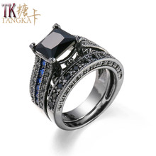 TANGKA top romantic sets of copper ring  Cubic Zirconia engagement/wedding Costume jewelry rings for women sale prong setting
